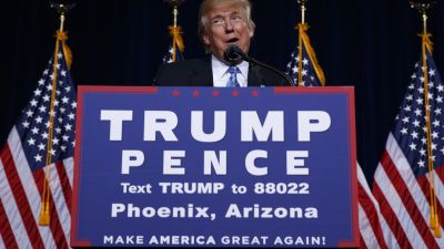 Republican presidential candidate Donald Trump delivers an immigration policy speech during a campaign rally at the Phoenix Convention Center, Wednesday, Aug. 31, 2016, in Phoenix. (AP Photo/Evan Vucci)