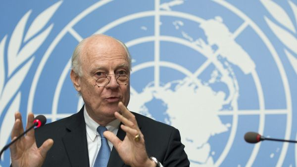 epa05182949 Staffan de Mistura, UN Special Envoy of the Secretary-General for Syria, speaks during a press conference about the beginning of a cessation of hostilities in Syria and the next talks in Geneva between the government and the opposition, at the