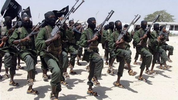 Hundreds of newly trained Shabaab fighters perform military exercises in the Lafofe area some 18Km south of Mogadishu on Thursday Feb. 17, 2011.  In information which could not be independently verified,  Islamist officials who spoke during the show of