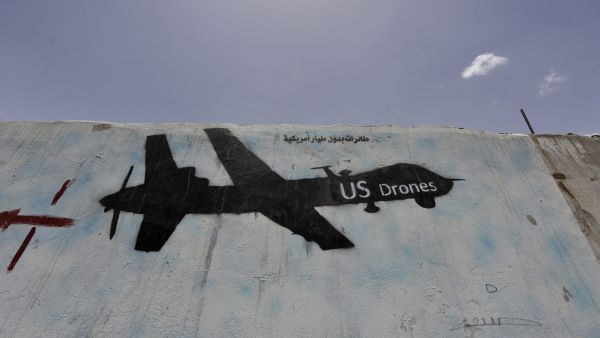 epa04158498 A graffiti depicts a US drone as a protest against US drone operations, in Sana?a, Yemen, 07 April 2014. Reports state Yemen has issued a temporary ban on US military drone strikes in the country following a drone strike that hit a wedding