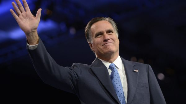 epa04595415 (FILE) A file photo dated 15 March 2013 of former presidential candidate and Governor Mitt Romney waving at the 40th Annual Conservative Political Action Conference (CPAC) at the Gaylord National Resort & Convention Center in National