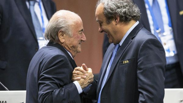 epa04948790 (FILE) A file picture dated 29 May 2015 of FIFA President Joseph Blatter (L) being congratulated by UEFA President Michel Platini (R) after his election as FIFA president during the 65th FIFA Congress in Zurich, Switzerland. The Office of the