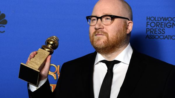 epa04556291 Icelandic composer Johann Johannsson poses in the press room with his award for Best Original Score for 'The Theory of Everything' during the 72nd Annual Golden Globe Awards at the Beverly Hilton Hotel, in Beverly Hills, California,