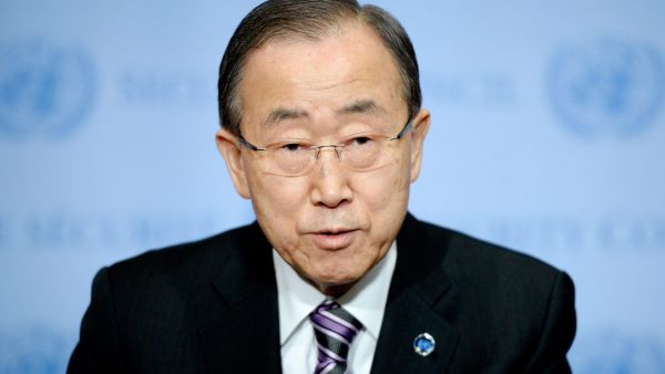 epa05090037 United Nations Secretary-General Ban Ki-moon makes a statement about a nuclear test conducted by North Korea at United Nations headquarters in New York, New York, USA, 06 January 2016.  The United Nations Security Council is holding