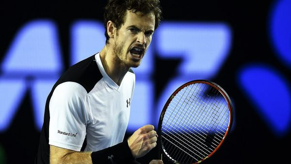 epa05133670 Andy Murray of the United Kingdom reacts during play against Milos Raonic of Canada on day twelve of the Australian Open tennis tournament in Melbourne, Australia, 29 January 2016.  EPA/LUKAS COCH AUSTRALIA AND NEW ZEALAND OUT