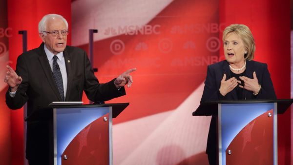 Democratic presidential candidate, Sen. Bernie Sanders, I-Vt,  and Democratic presidential candidate, former Secretary of State Hillary Clinton spar during a Democratic presidential primary debate hosted by MSNBC at the University of New Hampshire
