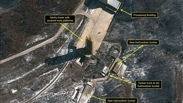 This image provided by the U.S.-Korea Institute at the Johns Hopkins School of Advanced International Studies via 38 North and via a satellite image from Centre National d'Études Spatiales and Airbus Defense & Space / Spot Image, shows a satellite
