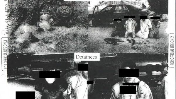 This image provided by the Department of Defense shows one of the 198 photos of detainees in Iraq and Afghanistan, involving 56 cases of alleged abuse by U.S. forces, that were released Friday, Feb. 5, 2016, in response to a Freedom of Information request