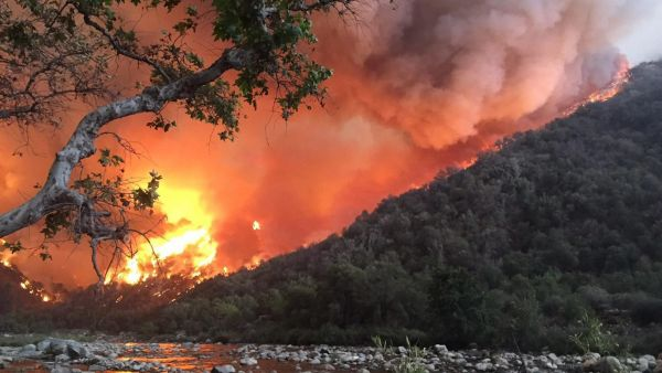 epa04939695 A handout picture made available by the US Forest Service on 20 September 2015 shows an out of control wildfire approaching the Kings River, east of Fresno, California, USA, 19 September 2015. Hundreds of people have been left homeless by two