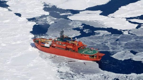 epa05179511 (FILE) An undated handout picture made available by the Australian Department of the Environment shows the Australian icebreaker Aurora Australis cruising through iced waters at sea in Antarctica. According to the Australian Antarctic Division