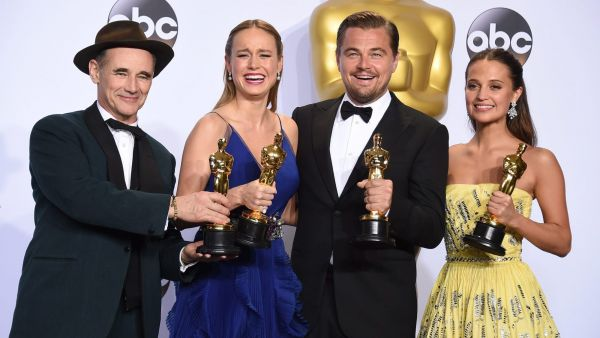 "Mark Rylance, winner of the award for best actor in a supporting role for ""Bridge of Spies,""  from left, Brie Larson, winner of the award for best actress in a leading role for ""Room"", Leonardo DiCaprio, winner of the award for best actor in a"