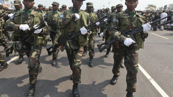 epa03478992 A picutre dated 30 June 2010 and made available on 20 November 2012 shows Congolese soldiers marching during an independence day celebration in Kinshasa, the Democractic Republic of the Congo. According to media reports, Congolese rebel group