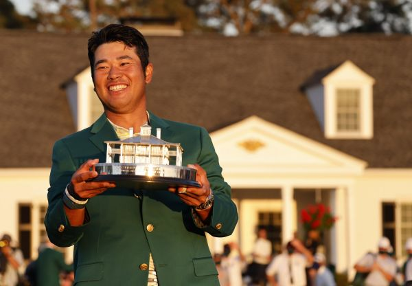 epa09129960 Hideki Matsuyama of Japan celebrates during the green jacket ceremony after winning the 2021 Masters Tournament at the Augusta National Golf Club in Augusta, Georgia, USA, 11 April 2021. The 2021 Masters Tournament is held 08 April through 11 April 2021.  EPA-EFE/ERIK S. LESSER
