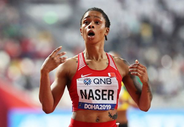 epa08467038 (FILE) - Salwa Eid Naser of Bahrain reacts after crossing the finish line to win the women's 400m final at the IAAF World Athletics Championships 2019 at the Khalifa Stadium in Doha, Qatar, 03 October 2019 (re-issued on 05 June 2020). Salwa Eid Naser has been provisionally banned for failing to make herself available for anti-doping tests, the Athletics Integrity Unit (AIU) confirmed on 05 June 2020. The 400m world champion could face a ban of up to two years for the whereabouts violation.  EPA-EFE/SRDJAN SUKI