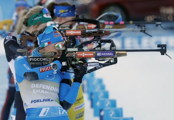 epa09012666 Defending Champion from 2020, Dorothea Wierer of Italy, in action at the shooting range at Women's 10km Pursuit competition at the IBU Biathlon World Championships in Pokljuka, Slovenia, 14 February 2021.  EPA-EFE/ANTONIO BAT